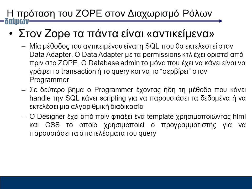 Η πρόταση του ZOPE στον Διαχωρισμό Ρόλων Στον Zope τα πάντα είναι «αντικείμενα» –Μία μέθοδος του αντικειμένου είναι η SQL που θα εκτελεστεί στον Data Adapter.