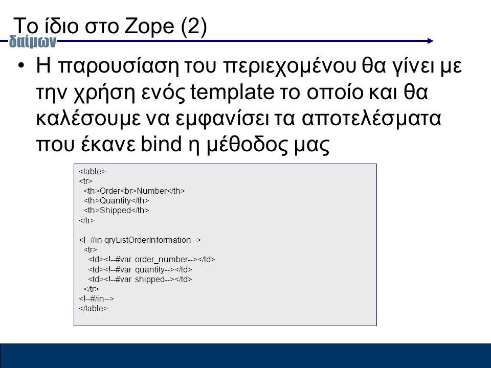 To ίδιο στο Zope (2) H παρουσίαση του περιεχομένου θα γίνει με την χρήση ενός template το οποίο και θα καλέσουμε να εμφανίσει τα αποτελέσματα που έκανε bind η μέθοδος μας Order Number Quantity Shipped