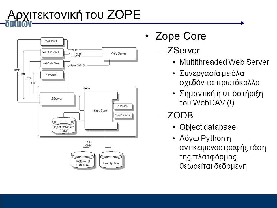 Αρχιτεκτονική του ZOPE Zope Core –ZServer Multithreaded Web Server Συνεργασία με όλα σχεδόν τα πρωτόκολλα Σημαντική η υποστήριξη του WebDAV (!) –ZODB Object database Λόγω Python η αντικειμενοστραφής τάση της πλατφόρμας θεωρείται δεδομένη