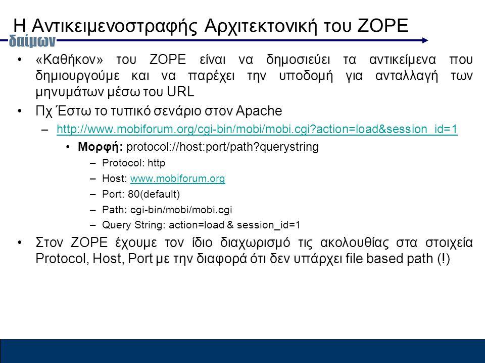 Η Αντικειμενοστραφής Αρχιτεκτονική του ZOPE «Καθήκον» του ZOPE είναι να δημοσιεύει τα αντικείμενα που δημιουργούμε και να παρέχει την υποδομή για ανταλλαγή των μηνυμάτων μέσω του URL Πχ Έστω το τυπικό σενάριο στον Apache –http://www.mobiforum.org/cgi-bin/mobi/mobi.cgi action=load&session_id=1http://www.mobiforum.org/cgi-bin/mobi/mobi.cgi action=load&session_id=1 Μορφή: protocol://host:port/path querystring –Protocol: http –Host: www.mobiforum.orgwww.mobiforum.org –Port: 80(default) –Path: cgi-bin/mobi/mobi.cgi –Query String: action=load & session_id=1 Στον ΖΟPE έχουμε τον ίδιο διαχωρισμό τις ακολουθίας στα στοιχεία Protocol, Host, Port με την διαφορά ότι δεν υπάρχει file based path (!)