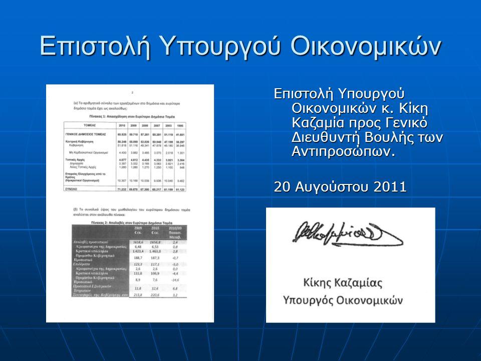 Επιστολή Υπουργού Οικονομικών Επιστολή Υπουργού Οικονομικών κ.