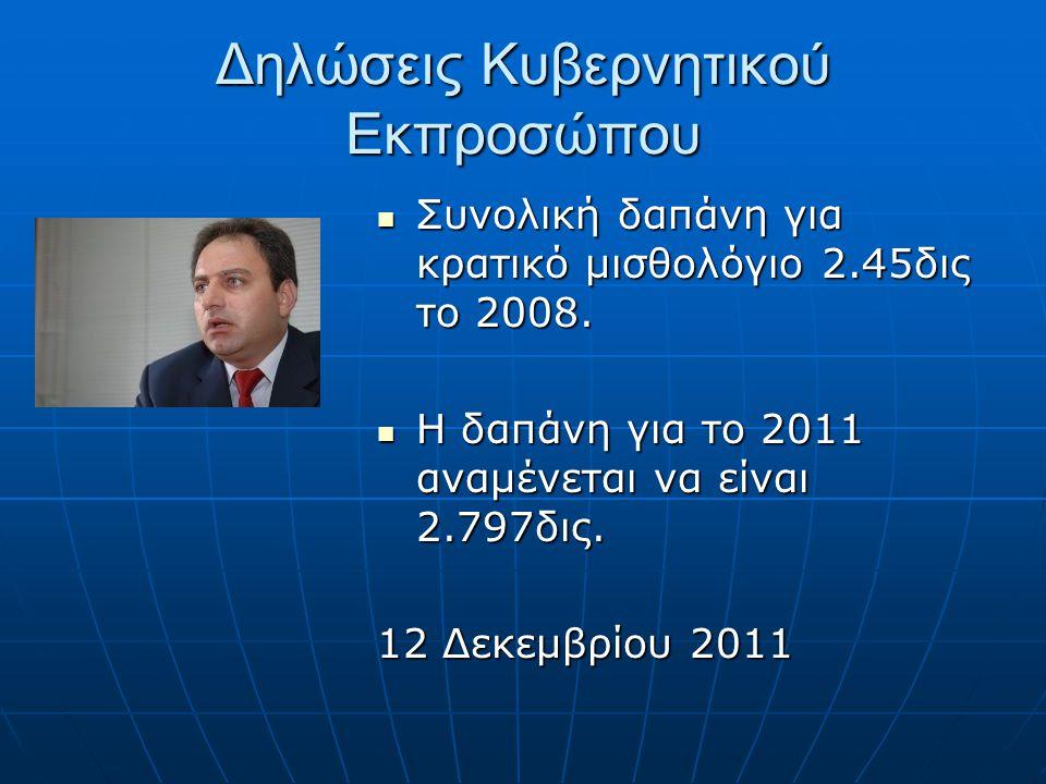 Δηλώσεις Κυβερνητικού Εκπροσώπου Συνολική δαπάνη για κρατικό μισθολόγιο 2.45δις το 2008.