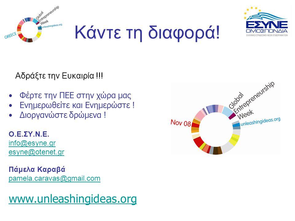 Κάντε τη διαφορά! Αδράξτε την Ευκαιρία !!! Φέρτε την ΠΕΕ στην χώρα μας Ενημερωθείτε και Ενημερώστε ! Διοργανώστε δρώμενα ! Ο.Ε.ΣΥ.Ν.Ε. info@esyne.gr e