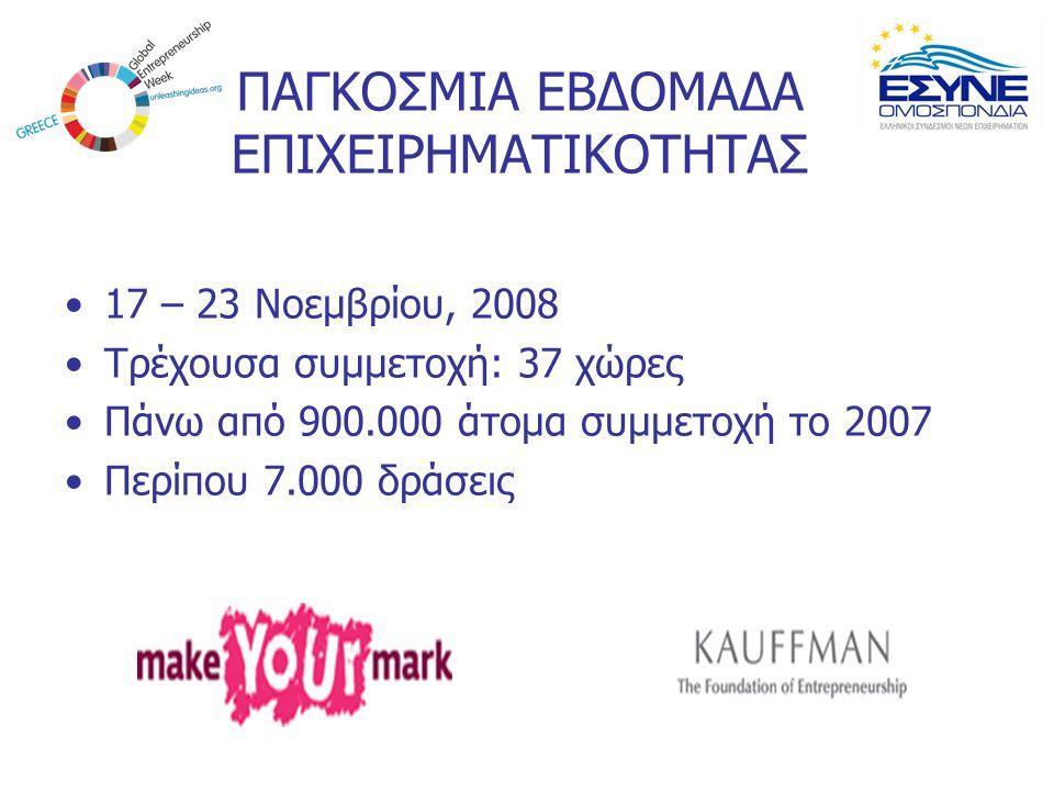 ΠΑΓΚΟΣΜΙΑ ΕΒΔΟΜΑΔΑ ΕΠΙΧΕΙΡΗΜΑΤΙΚΟΤΗΤΑΣ 17 – 23 Νοεμβρίου, 2008 Τρέχουσα συμμετοχή: 37 χώρες Πάνω από 900.000 άτομα συμμετοχή το 2007 Περίπου 7.000 δρά