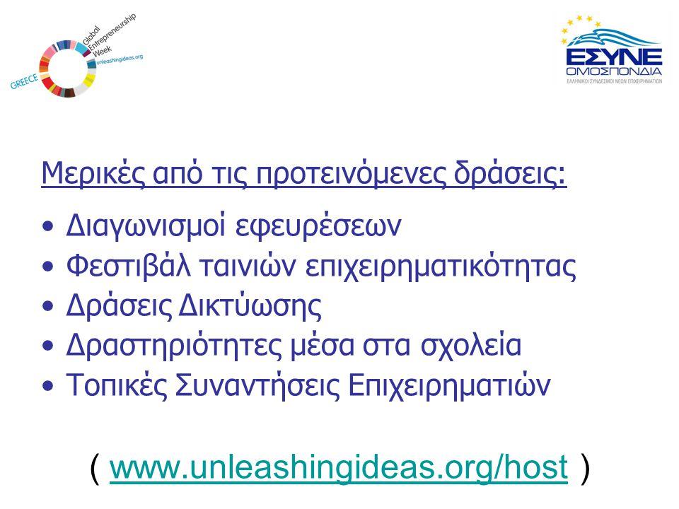 Μερικές από τις προτεινόμενες δράσεις: Διαγωνισμοί εφευρέσεων Φεστιβάλ ταινιών επιχειρηματικότητας Δράσεις Δικτύωσης Δραστηριότητες μέσα στα σχολεία Τ