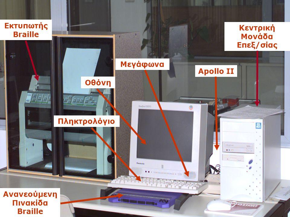 Εγνατία 156, Τ.Θ. 1591, 540 06 Θεσσαλονίκη, Τηλ. 2310 891.751-2, Fax 2310 857.794 Μεγάφωνα Οθόνη Πληκτρολόγιο Ανανεούμενη Πινακίδα Braille Κεντρική Μο