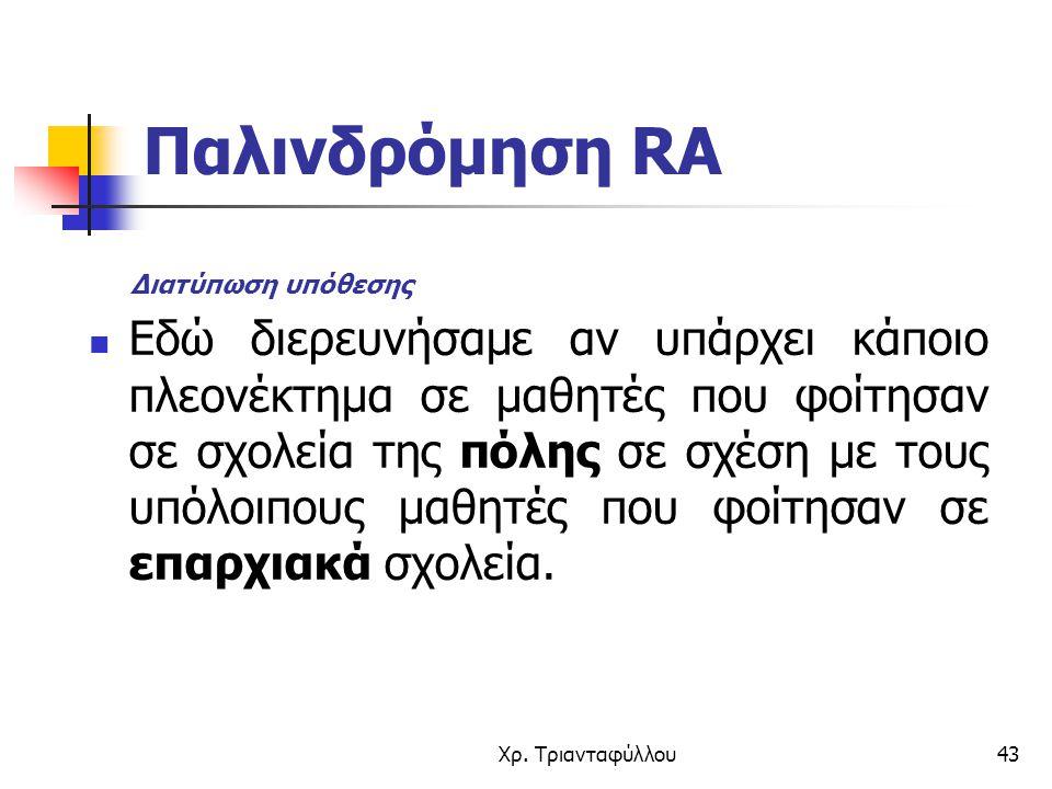 Χρ. Τριανταφύλλου43 Παλινδρόμηση RA Εδώ διερευνήσαμε αν υπάρχει κάποιο πλεονέκτημα σε μαθητές που φοίτησαν σε σχολεία της πόλης σε σχέση με τους υπόλο