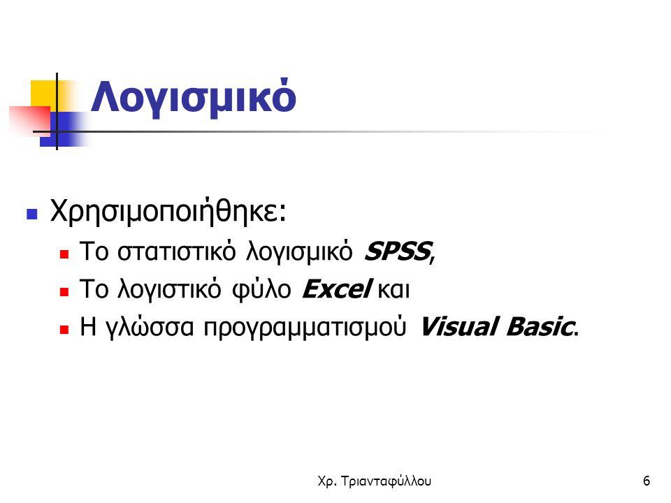 Χρ. Τριανταφύλλου6 Λογισμικό Χρησιμοποιήθηκε: Το στατιστικό λογισμικό SPSS, Το λογιστικό φύλο Excel και Η γλώσσα προγραμματισμού Visual Basic.