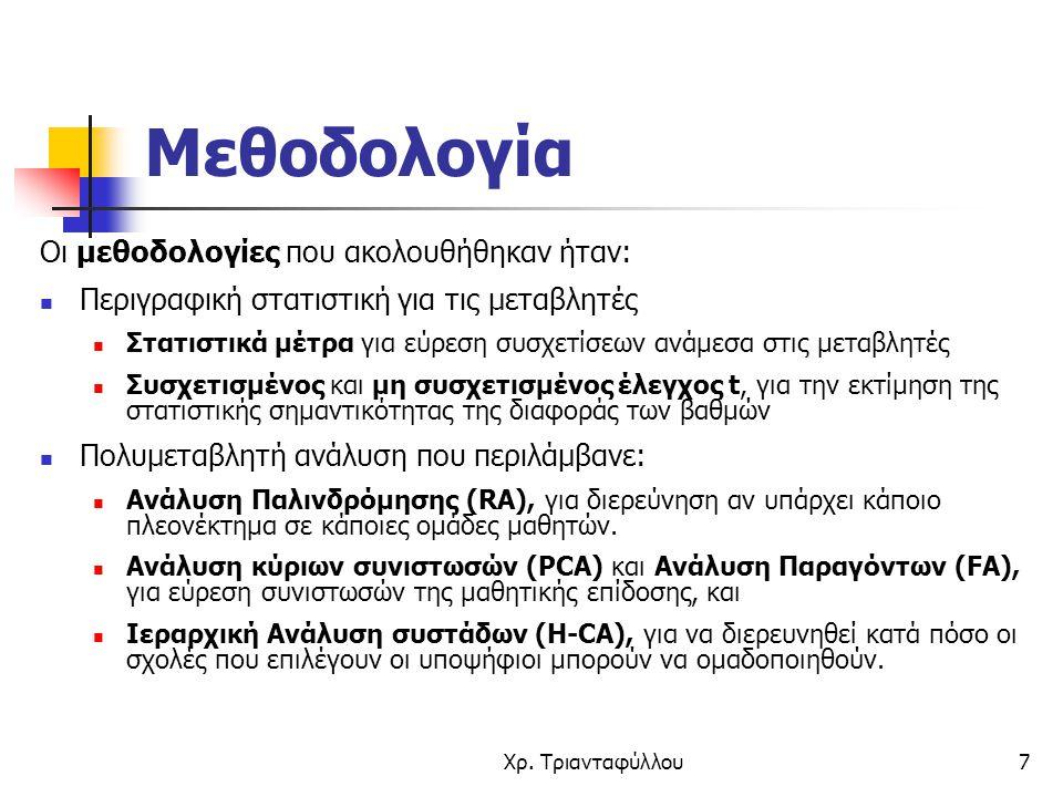 Χρ. Τριανταφύλλου7 Μεθοδολογία Οι μεθοδολογίες που ακολουθήθηκαν ήταν: Περιγραφική στατιστική για τις μεταβλητές Στατιστικά μέτρα για εύρεση συσχετίσε