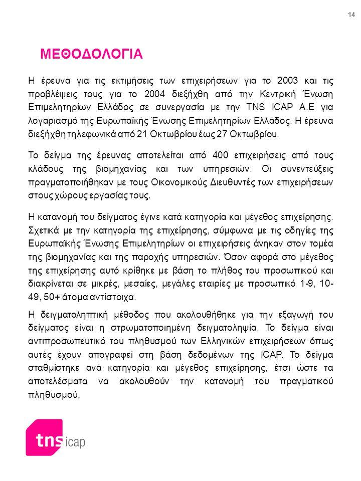 14 ΜΕΘΟΔΟΛΟΓΙΑ Η έρευνα για τις εκτιμήσεις των επιχειρήσεων για το 2003 και τις προβλέψεις τους για το 2004 διεξήχθη από την Κεντρική Ένωση Επιμελητηρ