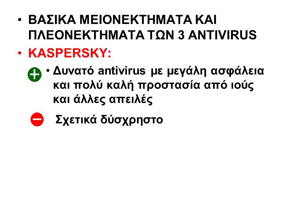 ΒΑΣΙΚΑ ΜΕΙΟΝΕΚΤΗΜΑΤΑ ΚΑΙ ΠΛΕΟΝΕΚΤΗΜΑΤΑ ΤΩΝ 3 ANTIVIRUS KASPERSKY: Δυνατό antivirus με μεγάλη ασφάλεια και πολύ καλή προστασία από ιούς και άλλες απειλές Σχετικά δύσχρηστο