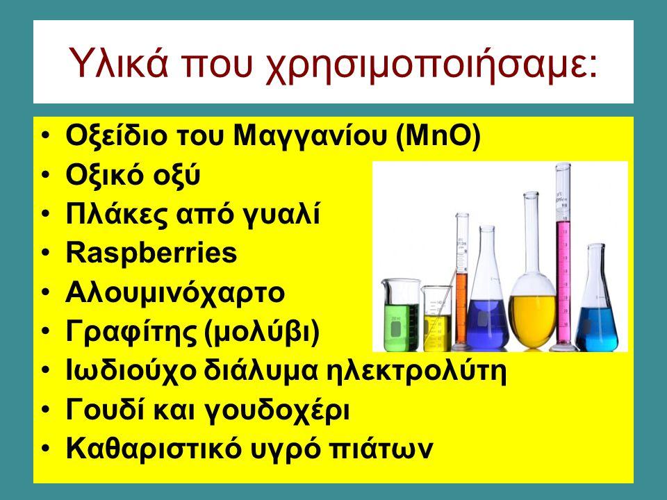 Υλικά που χρησιμοποιήσαμε: Οξείδιο του Μαγγανίου (MnO) Οξικό οξύ Πλάκες από γυαλί Raspberries Αλουμινόχαρτο Γραφίτης (μολύβι) Ιωδιούχο διάλυμα ηλεκτρολύτη Γουδί και γουδοχέρι Καθαριστικό υγρό πιάτων