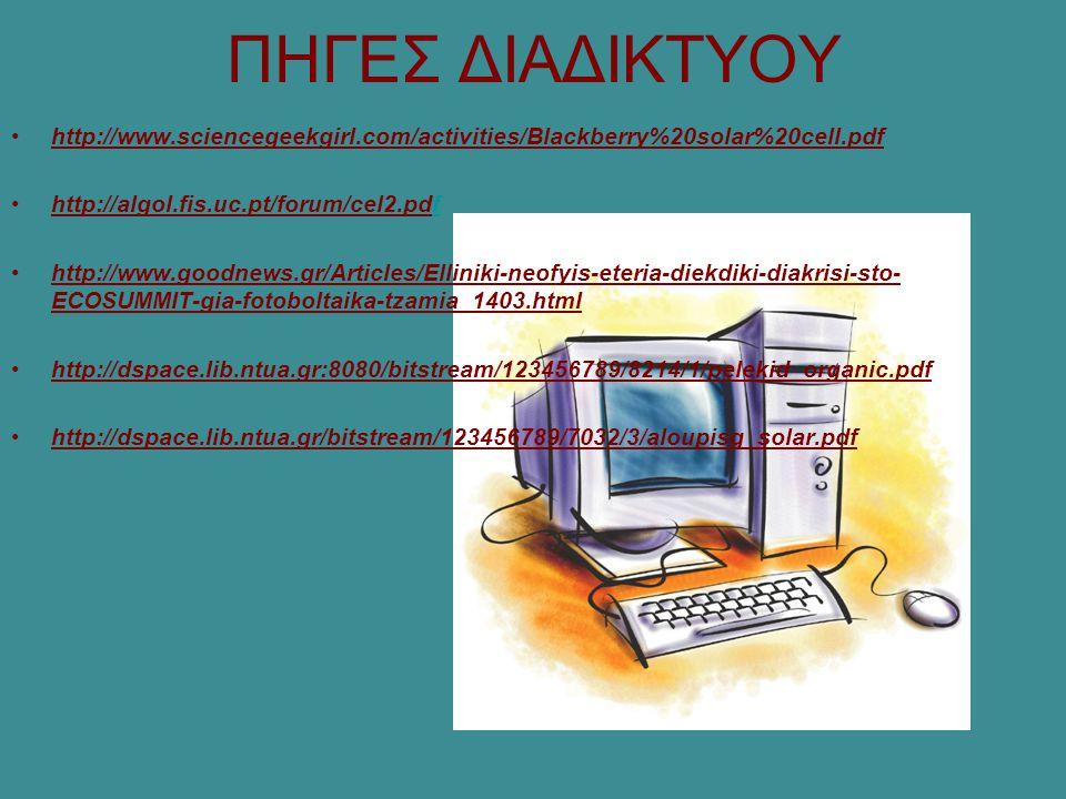 ΠΗΓΕΣ ΔΙΑΔΙΚΤΥΟΥ http://www.sciencegeekgirl.com/activities/Blackberry%20solar%20cell.pdf http://algol.fis.uc.pt/forum/cel2.pdff http://www.goodnews.gr/Articles/Elliniki-neofyis-eteria-diekdiki-diakrisi-sto- ECOSUMMIT-gia-fotoboltaika-tzamia_1403.html http://dspace.lib.ntua.gr:8080/bitstream/123456789/8214/1/pelekid_organic.pdf http://dspace.lib.ntua.gr/bitstream/123456789/7032/3/aloupisg_solar.pdf