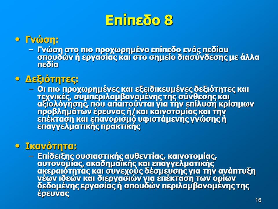 16 Επίπεδο 8 Γνώση: Γνώση: –Γνώση στο πιο προχωρημένο επίπεδο ενός πεδίου σπουδών ή εργασίας και στο σημείο διασύνδεσης με άλλα πεδία Δεξιότητες: Δεξιότητες: –Οι πιο προχωρημένες και εξειδικευμένες δεξιότητες και τεχνικές, συμπεριλαμβανομένης της σύνθεσης και αξιολόγησης, που απαιτούνται για την επίλυση κρίσιμων προβλημάτων έρευνας ή/και καινοτομίας και την επέκταση και επανορισμό υφιστάμενης γνώσης ή επαγγελματικής πρακτικής Ικανότητα: Ικανότητα: –Επίδειξης ουσιαστικής αυθεντίας, καινοτομίας, αυτονομίας, ακαδημαϊκής και επαγγελματικής ακεραιότητας και συνεχούς δέσμευσης για την ανάπτυξη νέων ιδεών και διεργασιών για επέκταση των ορίων δεδομένης εργασίας ή σπουδών περιλαμβανομένης της έρευνας