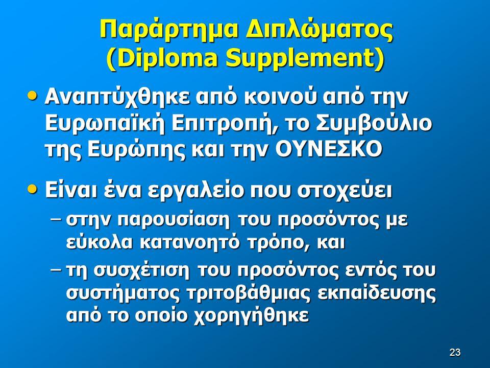 23 Παράρτημα Διπλώματος (Diploma Supplement) Αναπτύχθηκε από κοινού από την Ευρωπαϊκή Επιτροπή, το Συμβούλιο της Ευρώπης και την ΟΥΝΕΣΚΟ Αναπτύχθηκε από κοινού από την Ευρωπαϊκή Επιτροπή, το Συμβούλιο της Ευρώπης και την ΟΥΝΕΣΚΟ Είναι ένα εργαλείο που στοχεύει Είναι ένα εργαλείο που στοχεύει –στην παρουσίαση του προσόντος με εύκολα κατανοητό τρόπο, και –τη συσχέτιση του προσόντος εντός του συστήματος τριτοβάθμιας εκπαίδευσης από το οποίο χορηγήθηκε