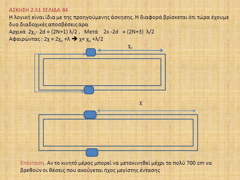 ΑΣΚΗΣΗ 2.51 ΣΕΛΙΔΑ 84 Η λογική είναι ίδια με της προηγούμενης άσκησης. Η διαφορά βρίσκεται ότι τώρα έχουμε δυο διαδοχικές αποσβέσεις άρα Αρχικά 2χ ο -