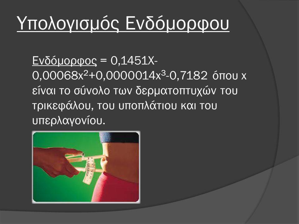 Υπολογισμός Ενδόμορφου Ενδόμορφος = 0,1451X- 0,00068x 2 +0,0000014x 3 -0,7182 όπου x είναι το σύνολο των δερματοπτυχών του τρικεφάλου, του υποπλάτιου