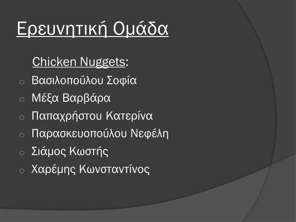 Ερευνητική Ομάδα Chicken Nuggets: o Βασιλοπούλου Σοφία o Μέξα Βαρβάρα o Παπαχρήστου Κατερίνα o Παρασκευοπούλου Νεφέλη o Σιάμος Κωστής o Χαρέμης Κωνστα
