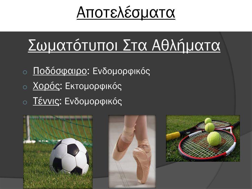 Αποτελέσματα Σωματότυποι Στα Αθλήματα o Ποδόσφαιρο: Ενδομορφικός o Χορός: Εκτομορφικός o Τέννις: Ενδομορφικός