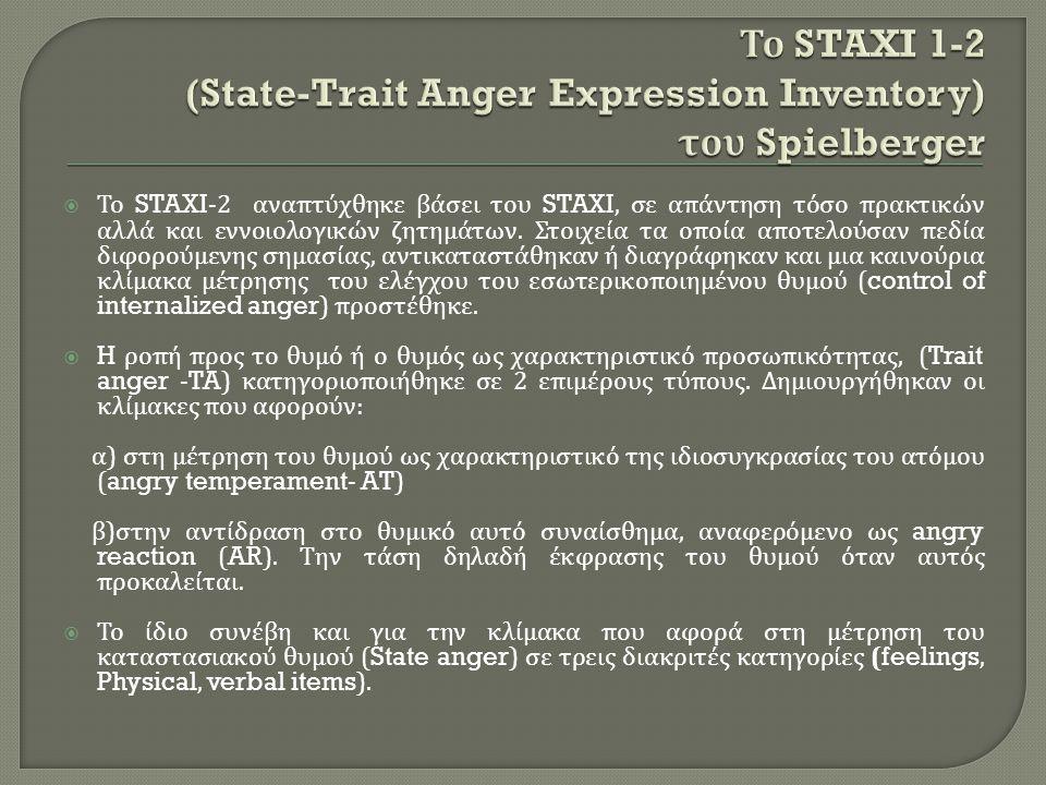  Το STAXI-2 αναπτύχθηκε βάσει του STAXI, σε απάντηση τόσο πρακτικών αλλά και εννοιολογικών ζητημάτων. Στοιχεία τα οποία αποτελούσαν πεδία διφορούμενη