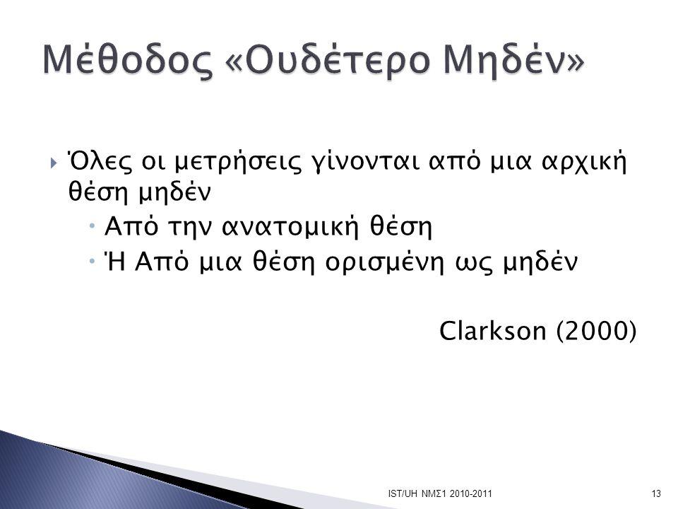  Όλες οι μετρήσεις γίνονται από μια αρχική θέση μηδέν  Από την ανατομική θέση  Ή Από μια θέση ορισμένη ως μηδέν Clarkson (2000) IST/UH ΝΜΣ1 2010-20