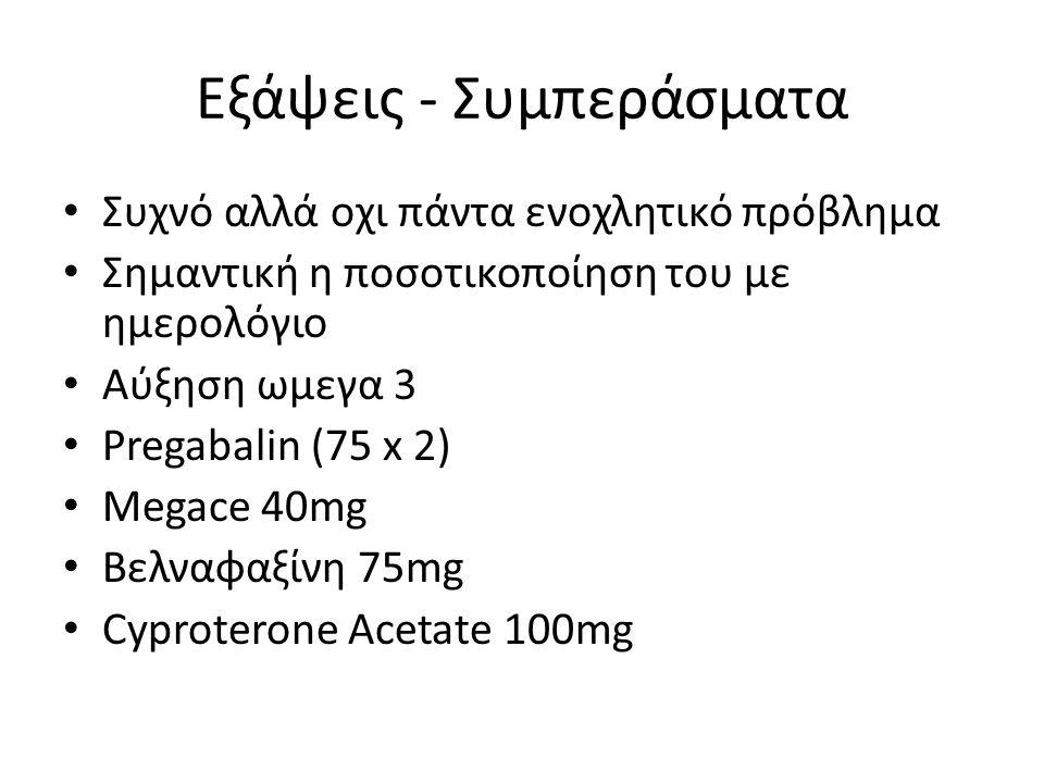 Εξάψεις - Συμπεράσματα Συχνό αλλά οχι πάντα ενοχλητικό πρόβλημα Σημαντική η ποσοτικοποίηση του με ημερολόγιο Αύξηση ωμεγα 3 Pregabalin (75 x 2) Megace 40mg Βελναφαξίνη 75mg Cyproterone Acetate 100mg