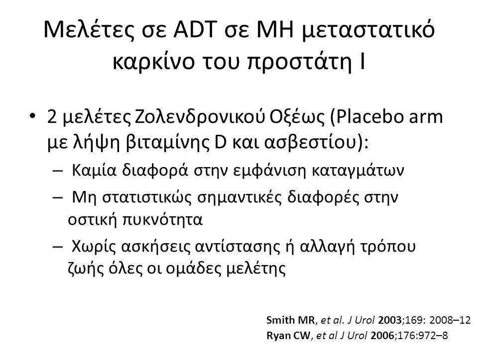 Μελέτες σε ADT σε ΜΗ μεταστατικό καρκίνο του προστάτη Ι 2 μελέτες Ζολενδρονικού Οξέως (Placebo arm με λήψη βιταμίνης D και ασβεστίου): – Καμία διαφορά