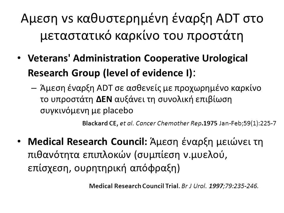 Αμεση vs καθυστερημένη έναρξη ADT στο μεταστατικό καρκίνο του προστάτη Veterans Administration Cooperative Urological Research Group (level of evidence I) : – Άμεση έναρξη ADT σε ασθενείς με προχωρημένο καρκίνο το υπροστάτη ΔΕΝ αυξάνει τη συνολική επιβίωση συγκινόμενη με placebo Medical Research Council: Άμεση έναρξη μειώνει τη πιθανότητα επιπλοκών (συμπίεση ν.μυελού, επίσχεση, ουρητηρική απόφραξη) Blackard CE, et al.