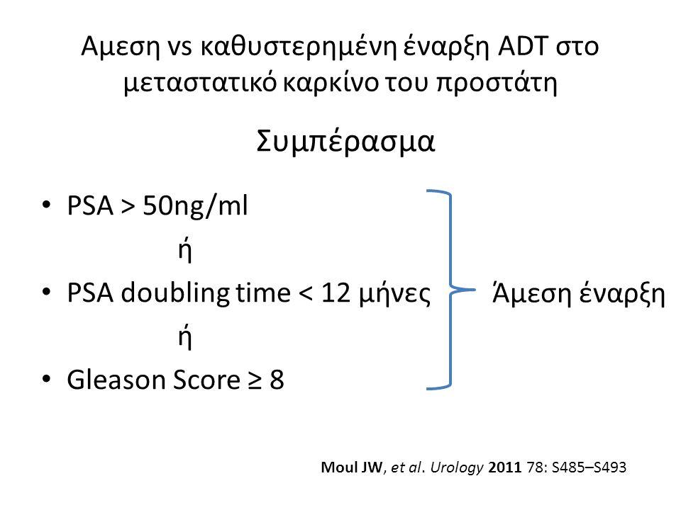 Αμεση vs καθυστερημένη έναρξη ADT στο μεταστατικό καρκίνο του προστάτη PSA > 50ng/ml ή PSA doubling time < 12 μήνες ή Gleason Score ≥ 8 Συμπέρασμα Άμεση έναρξη Moul JW, et al.
