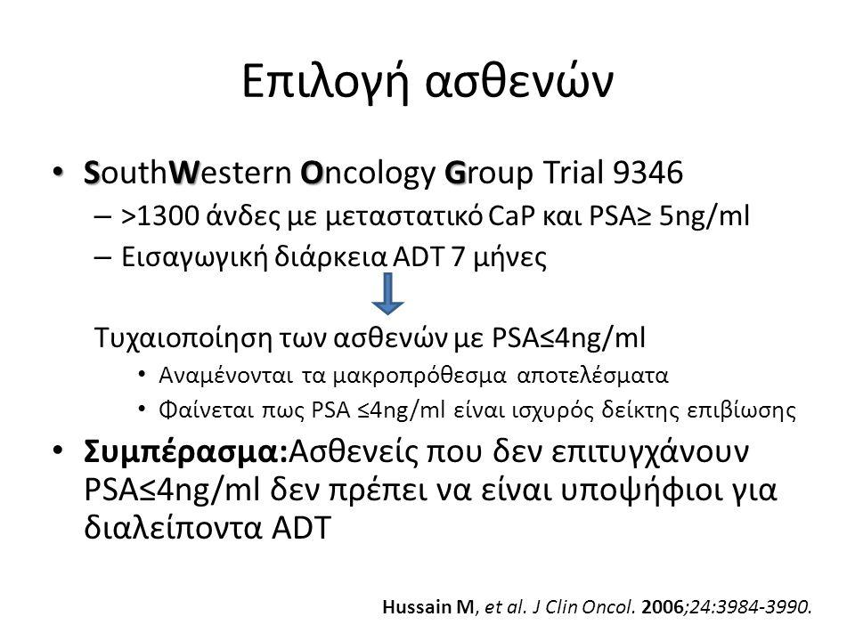 Επιλογή ασθενών SWOG SouthWestern Oncology Group Trial 9346 – >1300 άνδες με μεταστατικό CaP και PSA≥ 5ng/ml – Εισαγωγική διάρκεια ADT 7 μήνες Τυχαιοποίηση των ασθενών με PSA≤4ng/ml Αναμένονται τα μακροπρόθεσμα αποτελέσματα Φαίνεται πως PSA ≤4ng/ml είναι ισχυρός δείκτης επιβίωσης Συμπέρασμα:Ασθενείς που δεν επιτυγχάνουν PSA≤4ng/ml δεν πρέπει να είναι υποψήφιοι για διαλείποντα ADT Hussain M, et al.