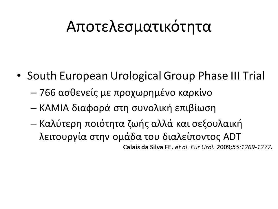 Αποτελεσματικότητα South European Urological Group Phase III Τrial – 766 ασθενείς με προχωρημένο καρκίνο – ΚΑΜΙΑ διαφορά στη συνολική επιβίωση – Καλύτ