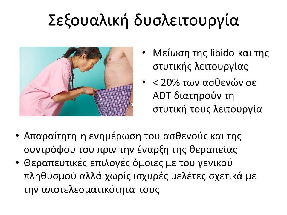 Σεξουαλική δυσλειτουργία Μείωση της libido και της στυτικής λειτουργίας < 20% των ασθενών σε ADT διατηρούν τη στυτική τους λειτουργία Απαραίτητη η ενη