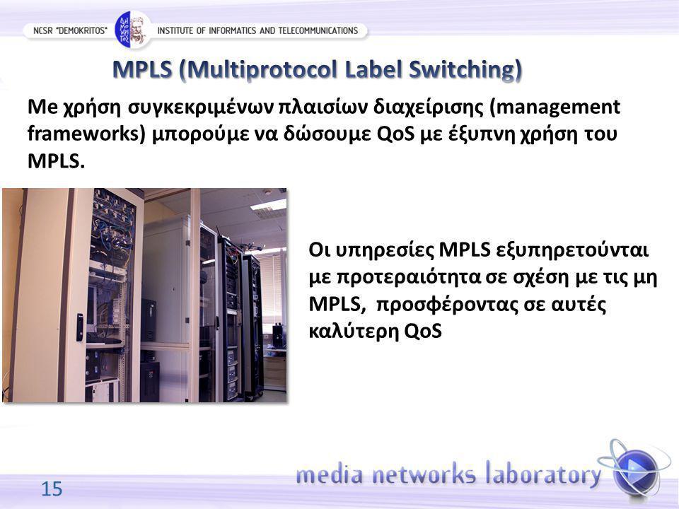 15 Me χρήση συγκεκριμένων πλαισίων διαχείρισης (management frameworks) μπορούμε να δώσουμε QoS με έξυπνη χρήση του MPLS. Oι υπηρεσίες MPLS εξυπηρετούν