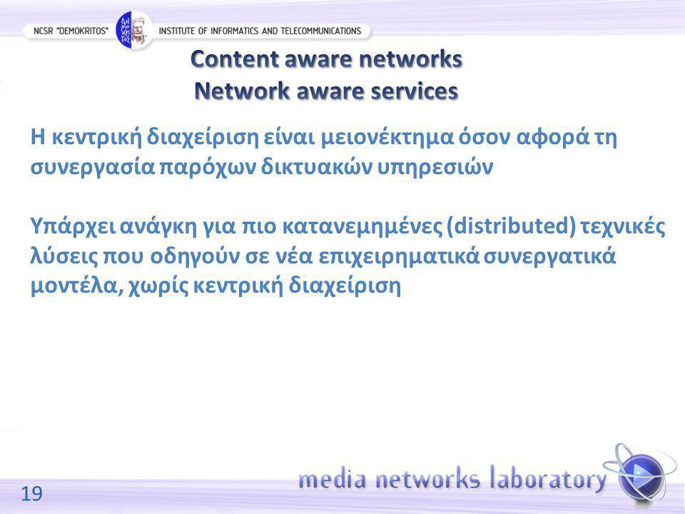 19 Η κεντρική διαχείριση είναι μειονέκτημα όσον αφορά τη συνεργασία παρόχων δικτυακών υπηρεσιών Υπάρχει ανάγκη για πιο κατανεμημένες (distributed) τεχνικές λύσεις που οδηγούν σε νέα επιχειρηματικά συνεργατικά μοντέλα, χωρίς κεντρική διαχείριση