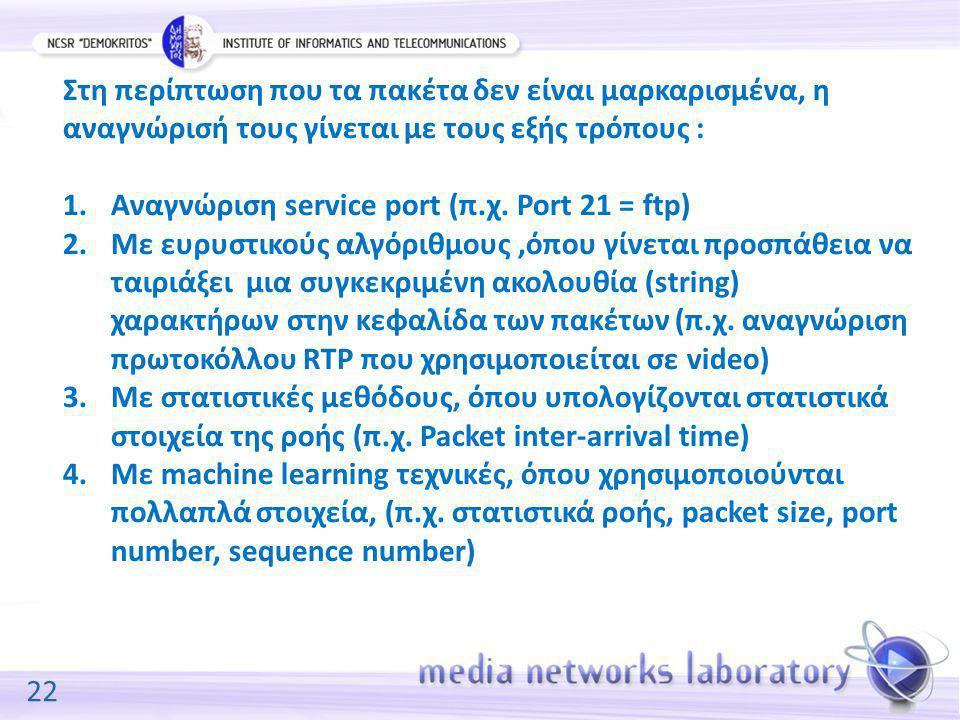 22 Στη περίπτωση που τα πακέτα δεν είναι μαρκαρισμένα, η αναγνώρισή τους γίνεται με τους εξής τρόπους : 1.Αναγνώριση service port (π.χ. Port 21 = ftp)