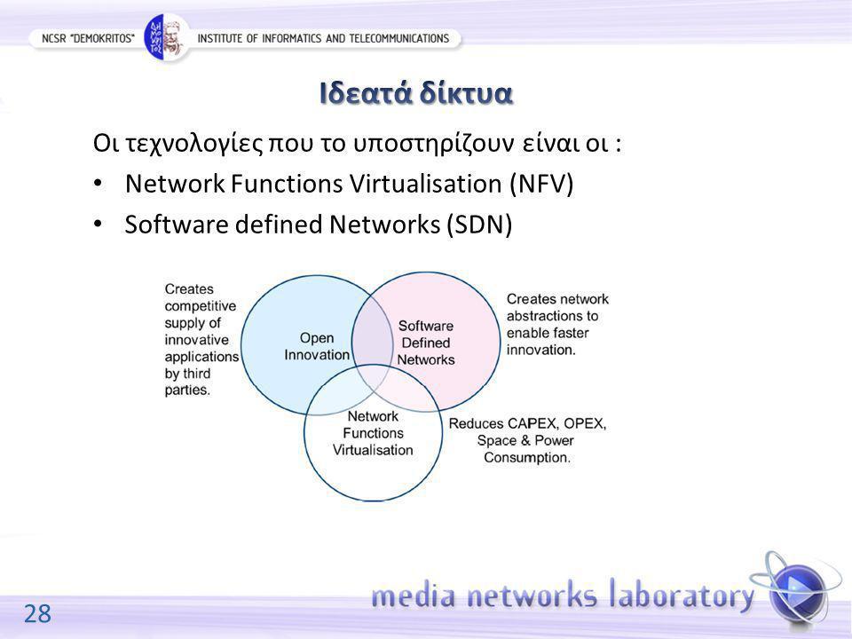 28 Οι τεχνολογίες που το υποστηρίζουν είναι οι : Network Functions Virtualisation (NFV) Software defined Networks (SDN)