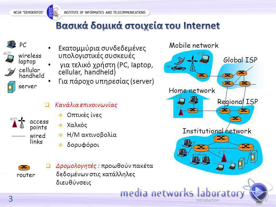 3 Introduction1-3 Εκατομμύρια συνδεδεμένες υπολογιστικές συσκευές για τελικό χρήστη (PC, laptop, cellular, handheld) Για πάροχο υπηρεσίας (server) Home network Institutional network Mobile network Global ISP Regional ISP router PC server wireless laptop cellular handheld wired links access points  Κανάλια επικοινωνίας  Οπτικές ίνες  Χαλκός  Η/Μ ακτινοβολία  δορυφόροι  Δρομολογητές : προωθούν πακέτα δεδομένων στις κατάλληλες διευθύνσεις