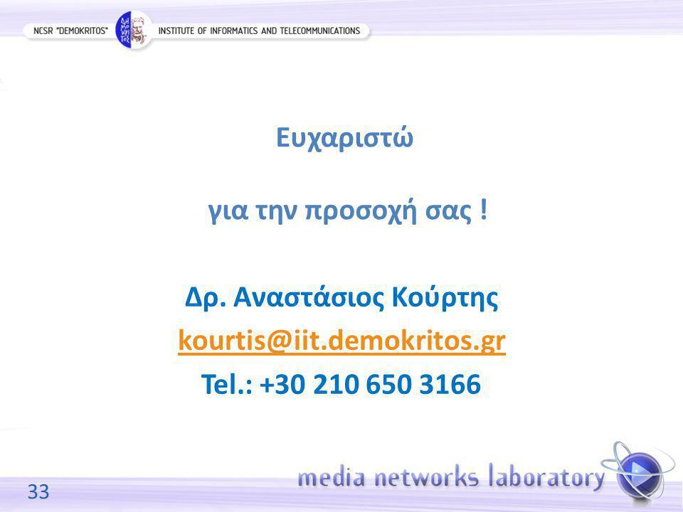 33 Ευχαριστώ για την προσοχή σας ! Δρ. Αναστάσιος Κούρτης kourtis@iit.demokritos.gr Tel.: +30 210 650 3166