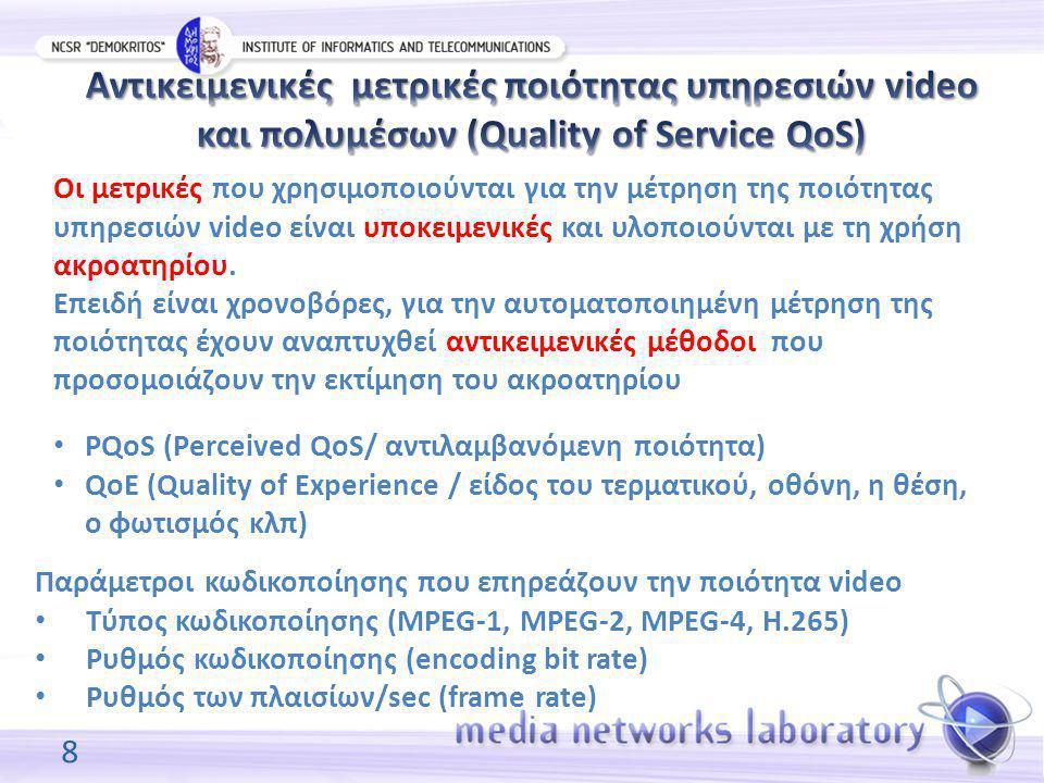 8 PQoS (Perceived QoS/ αντιλαμβανόμενη ποιότητα) QoE (Quality of Experience / είδος του τερματικού, οθόνη, η θέση, ο φωτισμός κλπ) Παράμετροι κωδικοποίησης που επηρεάζουν την ποιότητα video Τύπος κωδικοποίησης (MPEG-1, MPEG-2, MPEG-4, H.265) Ρυθμός κωδικοποίησης (encoding bit rate) Ρυθμός των πλαισίων/sec (frame rate) Οι μετρικές που χρησιμοποιούνται για την μέτρηση της ποιότητας υπηρεσιών video είναι υποκειμενικές και υλοποιούνται με τη χρήση ακροατηρίου.