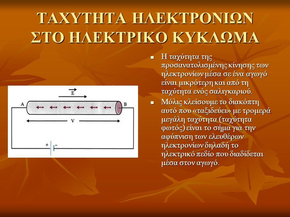 ΤΑΧΥΤΗΤΑ ΗΛΕΚΤΡΟΝΙΩΝ ΣΤΟ ΗΛΕΚΤΡΙΚΟ ΚΥΚΛΩΜΑ Η ταχύτητα της προσανατολισμένης κίνησης των ηλεκτρονίων μέσα σε ένα αγωγό είναι μικρότερη και από τη ταχύτητα ενός σαλιγκαριού.