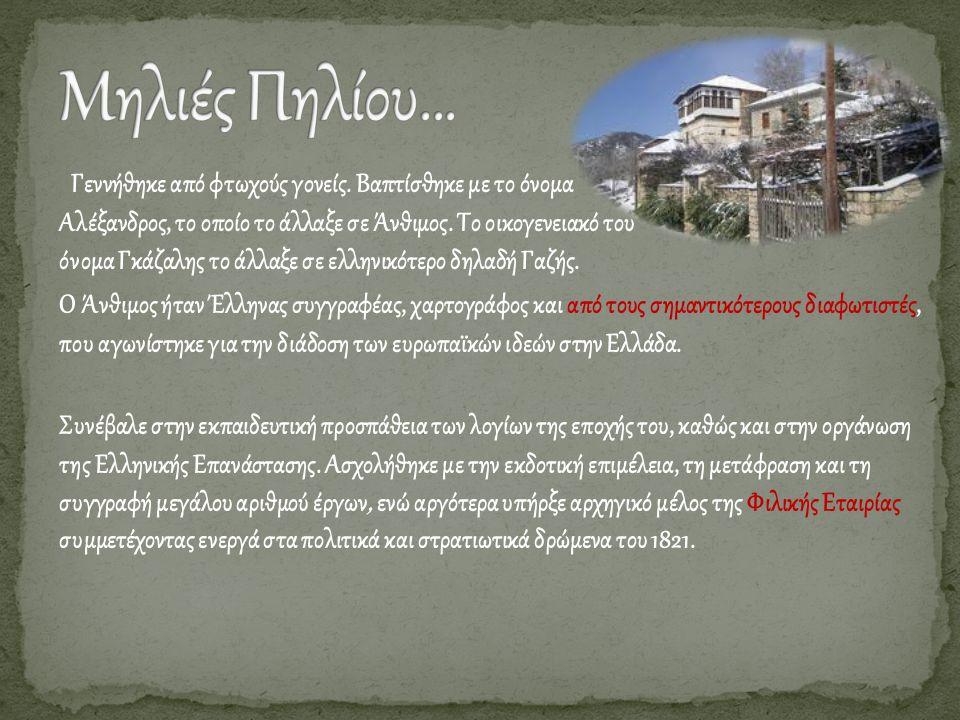 Γεννήθηκε από φτωχούς γονείς. Βαπτίσθηκε με το όνομα Αλέξανδρος, το οποίο το άλλαξε σε Άνθιμος. Το οικογενειακό του όνομα Γκάζαλης το άλλαξε σε ελληνι