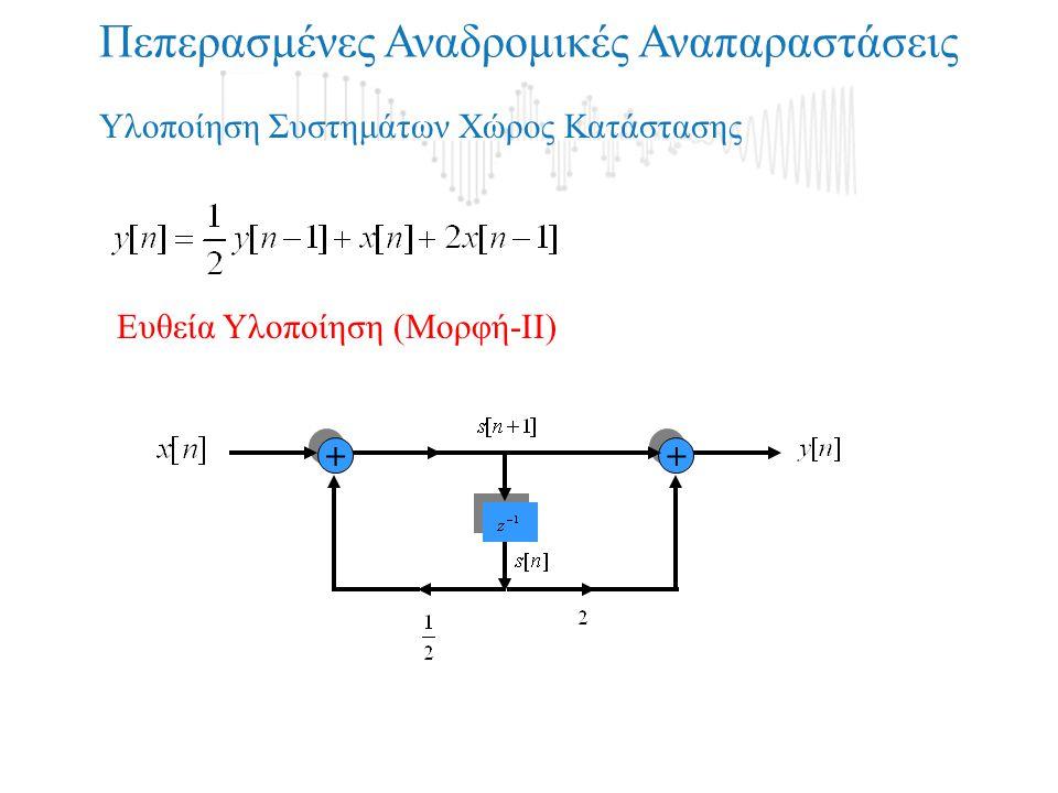+ + Πεπερασμένες Αναδρομικές Αναπαραστάσεις + + Υλοποίηση Συστημάτων Χώρος Κατάστασης Ευθεία Υλοποίηση (Μορφή-ΙΙ)