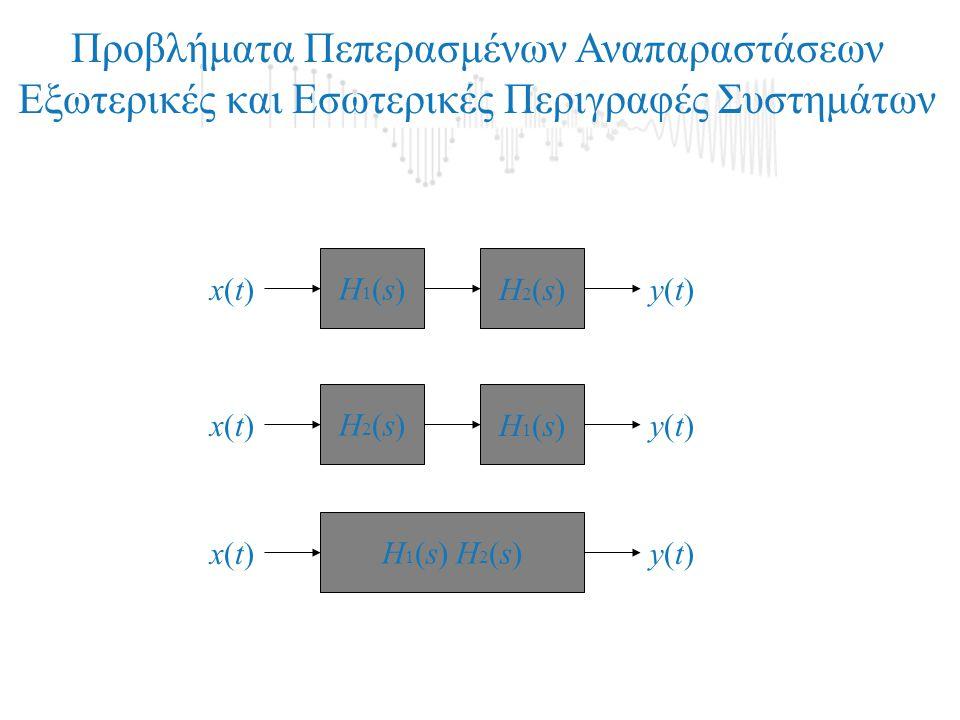 Προβλήματα Πεπερασμένων Αναπαραστάσεων Εξωτερικές και Εσωτερικές Περιγραφές Συστημάτων Η2(s)Η2(s)Η1(s)Η1(s) x(t)x(t)y(t)y(t) Η1(s)Η1(s)Η2(s)Η2(s) x(t)x(t)y(t)y(t) Η 1 (s) Η 2 (s) x(t)x(t)y(t)y(t)