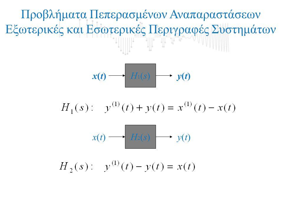 Προβλήματα Πεπερασμένων Αναπαραστάσεων Εξωτερικές και Εσωτερικές Περιγραφές Συστημάτων Η1(s)Η1(s) x(t)x(t)y(t)y(t) Η2(s)Η2(s) x(t)x(t)y(t)y(t)