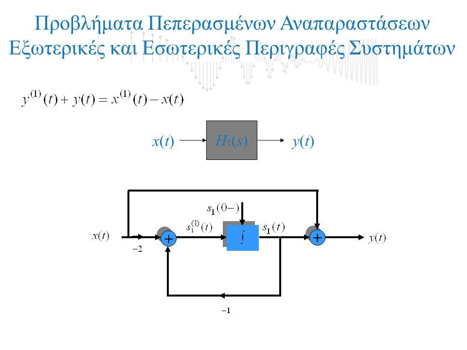 + + + + Προβλήματα Πεπερασμένων Αναπαραστάσεων Εξωτερικές και Εσωτερικές Περιγραφές Συστημάτων Η1(s)Η1(s) x(t)x(t)y(t)y(t)