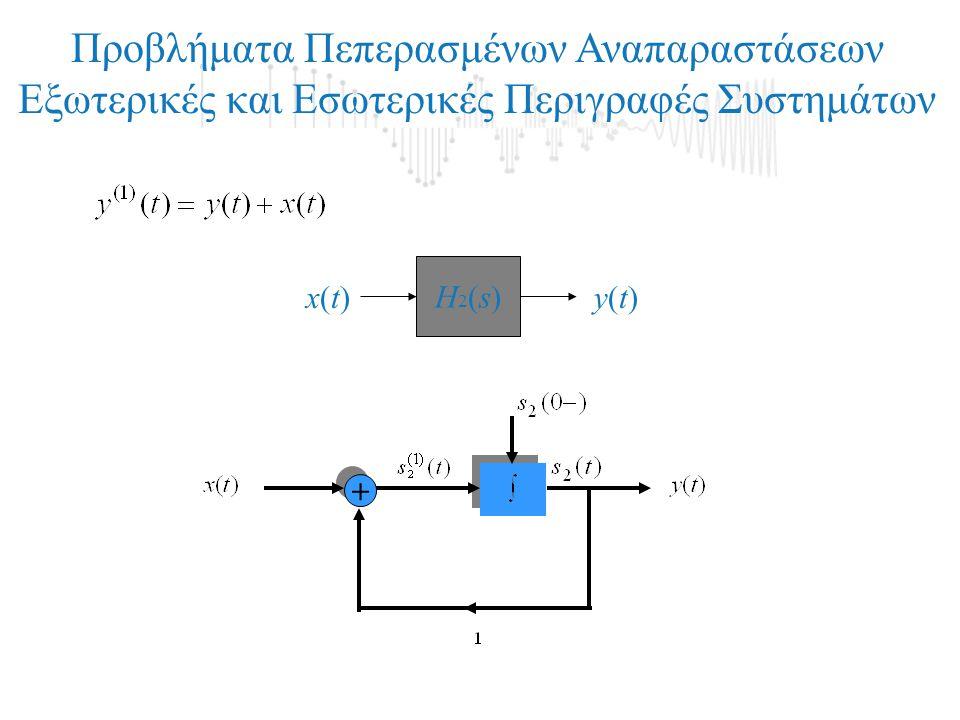 + + Προβλήματα Πεπερασμένων Αναπαραστάσεων Εξωτερικές και Εσωτερικές Περιγραφές Συστημάτων Η2(s)Η2(s) x(t)x(t)y(t)y(t)