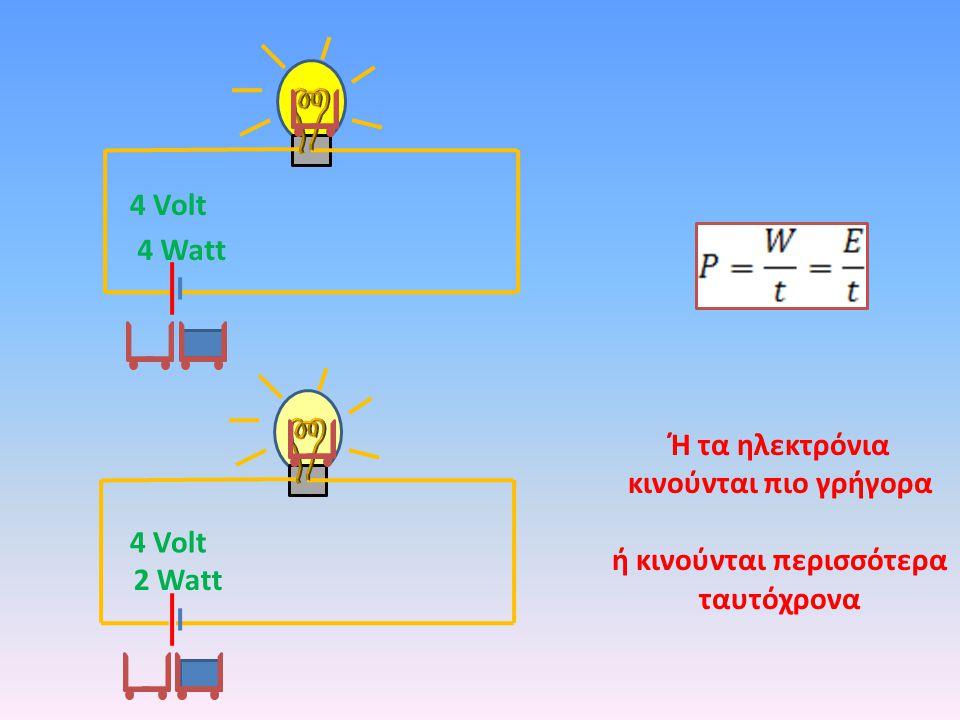 4 Watt 2 Watt 4 Volt Ή τα ηλεκτρόνια κινούνται πιο γρήγορα ή κινούνται περισσότερα ταυτόχρονα
