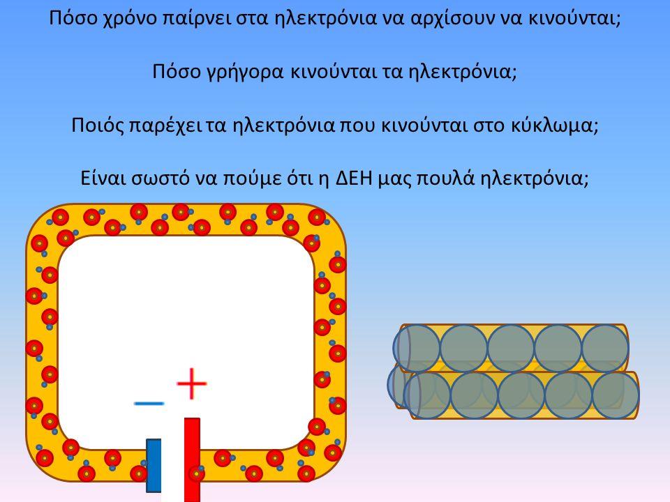 Πόσο χρόνο παίρνει στα ηλεκτρόνια να αρχίσουν να κινούνται; Πόσο γρήγορα κινούνται τα ηλεκτρόνια; Ποιός παρέχει τα ηλεκτρόνια που κινούνται στο κύκλωμ