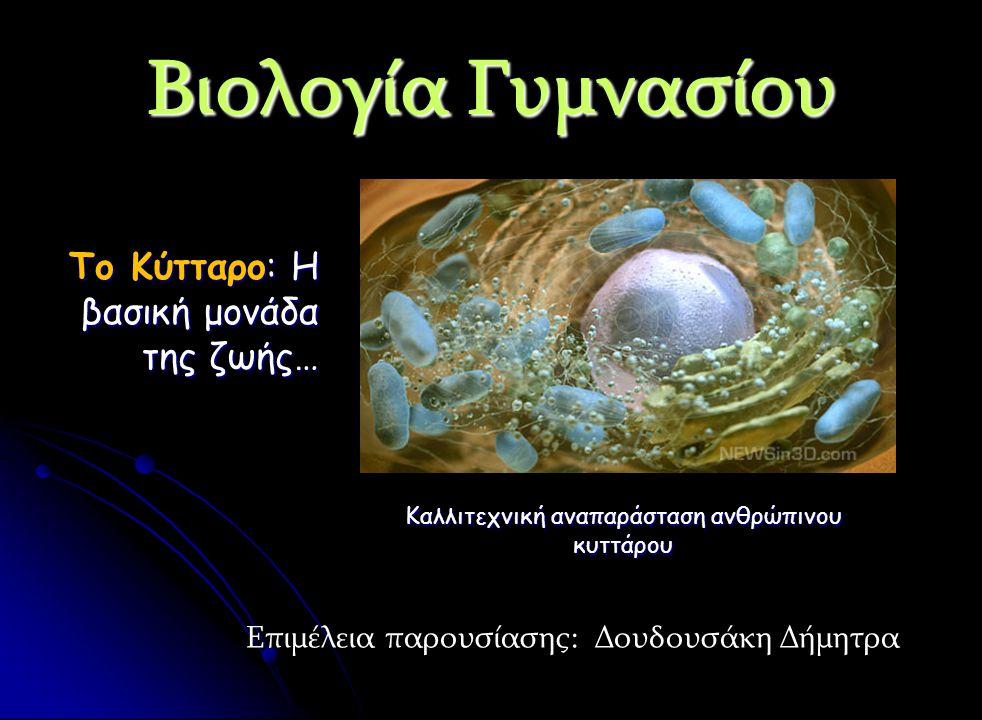 Βιολογία Γυμνασίου Το Κύτταρο: Η βασική μονάδα της ζωής… Επιμέλεια παρουσίασης: Δουδουσάκη Δήμητρα Καλλιτεχνική αναπαράσταση ανθρώπινου κυττάρου