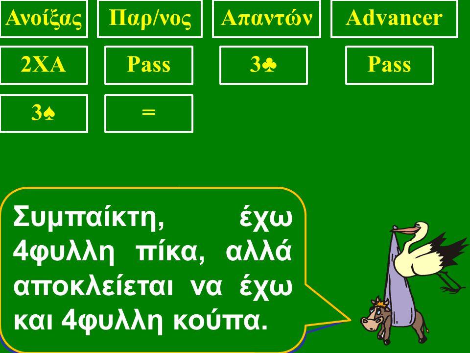 ΑνοίξαςΠαρ/νοςΑπαντώνAdvancer 2XAPass3♣3♣ 3♦3♦ Συμπαίκτη δεν έχω ούτε 4φυλλη κούπα, ούτε 4φυλλη πίκα Συμπαίκτη, έχω 4φυλλη κούπα, και πιθανόν και 4φυλ